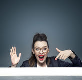 Portrait of an amazed businesswoman Stock Photo