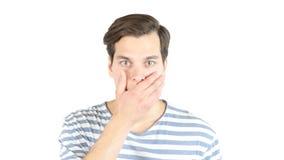 Portrait of amazed shocked man in studio , white isolated background. High quality Stock Photo