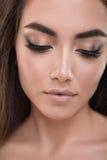 Portrait of a amazing beautiful brunette woman. Close up portrait of a amazing beautiful brunette woman Stock Image