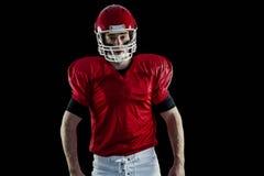 Portrait of american football player wearing his helmet Royalty Free Stock Image