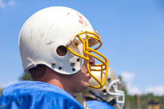 Portrait of American football players. Out of the game Stock Images