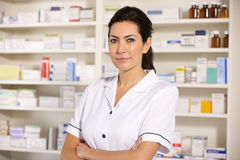 Portrait American pharmacist at work Stock Images