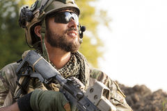 Portrait of American Soldier Stock Photo