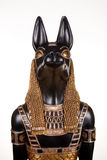 Portrait of ancient Egyptian god Anubis. A frontal view of the face of a statue of the ancient Egyptian god Anubis royalty free stock photography