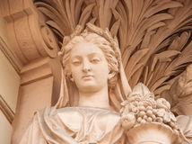 Portrait of the ancient goddess. The sculptural portrait of the ancient fertility goddess Ceres (Demeter Royalty Free Stock Photo