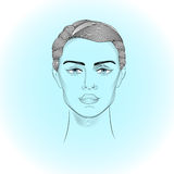 Portrait of androgyne. Human head on the abstract backgraund Royalty Free Stock Images