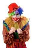 Portrait of an anger clown. Isolated on white Royalty Free Stock Photography