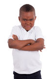 Portrait of a angry african american little boy Stock Images