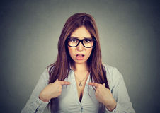 Portrait of angry annoyed woman asking you talking to me, you mean me? Royalty Free Stock Image
