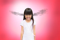 Angry asian little girl Stock Photo