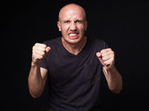 Portrait of an angry bald man Royalty Free Stock Photography