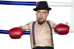 Portrait of angry boxer with cigar Royalty Free Stock Photos