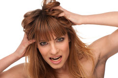 Portrait of an angry brunette girl Royalty Free Stock Images