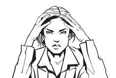 Portrait Of Angry Business Woman Holding Head With Headacke Sketch Businesswoman Tired Or Upset. Vector Illustration Stock Images