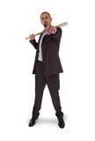 Portrait of angry businessman holding baseball bat Stock Photos