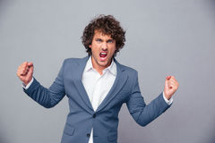 Portrait of angry businessman shouting Stock Photos