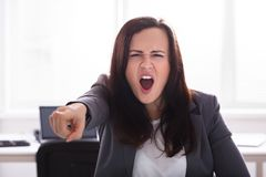 Portrait Of A Angry Businesswoman royalty free stock photos
