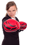 Portrait of angry businesswoman with boxing gloves punching isol Stock Image