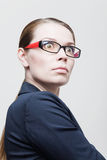 Portrait of angry businesswoman with glasses Stock Photo