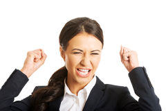 Portrait of angry businesswoman making fists Royalty Free Stock Photo