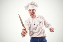 Portrait of angry chief cook isolated Stock Photo