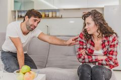 Portrait of an angry couple fighting, screaming, screaming and accusing each other of problems, quarrels, negative stock images