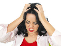 Portrait of an Angry Frustrated Young Hispanic Woman Feeling Stressed Royalty Free Stock Images