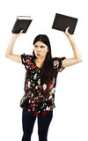 Portrait of angry, frustrated young student girl Stock Photography