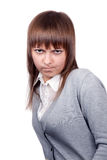 Portrait of the angry girl Stock Photos