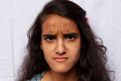 Portrait of a angry girl child Royalty Free Stock Photography