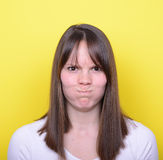 Portrait of angry girl going to explode of anger Stock Images