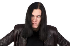 Portrait of angry informal man with long hair Royalty Free Stock Photos