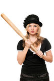 Portrait of angry lady with a bat Royalty Free Stock Images
