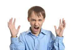 Portrait of angry little boy Royalty Free Stock Photography