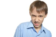 Portrait of angry little boy Royalty Free Stock Images