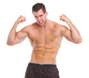Portrait of angry muscular sports man Royalty Free Stock Photos