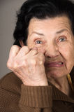 Portrait of angry old woman grandmother Stock Photo
