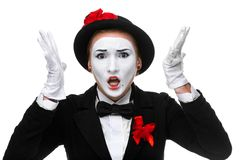 Portrait of the angry and resent mime Royalty Free Stock Photography