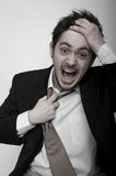 Portrait of angry stressed businessman. Shouting royalty free stock images