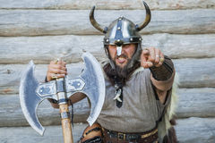Portrait of the angry viking Royalty Free Stock Image