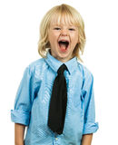 Portrait of an angry well-dressed boy yelling. Portrait of an angry well-dressed boy wearing a shirt and tie and yelling. Isolated on white stock images