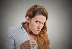 Portrait angry woman on grey background. Negative emotion Stock Photography