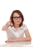 Portrait of angry woman pointing at you Stock Image