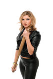 Portrait of angry young blonde with a bat Royalty Free Stock Photos