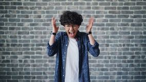 Portrait of angry young girl student screaming standing on brick background. Portrait of angry young girl attractive female student screaming standing on brick stock video footage