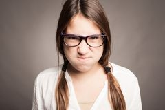 Portrait of angry young girl Royalty Free Stock Image