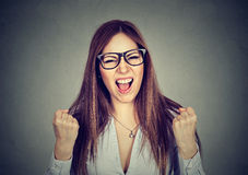 Portrait angry young woman screaming Royalty Free Stock Photography