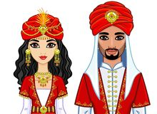 Portrait of an animation Arab family in ancient clothes. Royalty Free Stock Photo