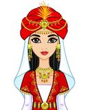Portrait of the animation Arab princess in  ancient suit. Royalty Free Stock Image