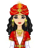 Portrait of the animation Arab princess in  ancient suit. Stock Photos